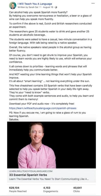 przykład kampanii fb