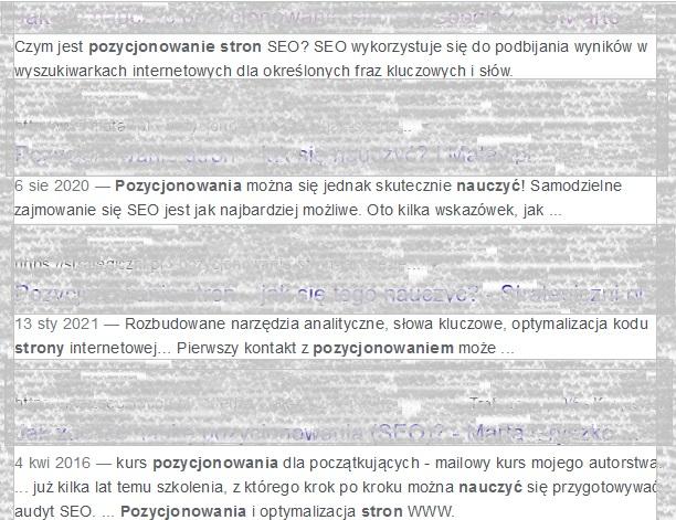 Pozycjonowanie stron google keywords